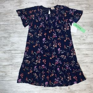 Siren Lily Navy Floral Ruffle Dress Size PL NWT